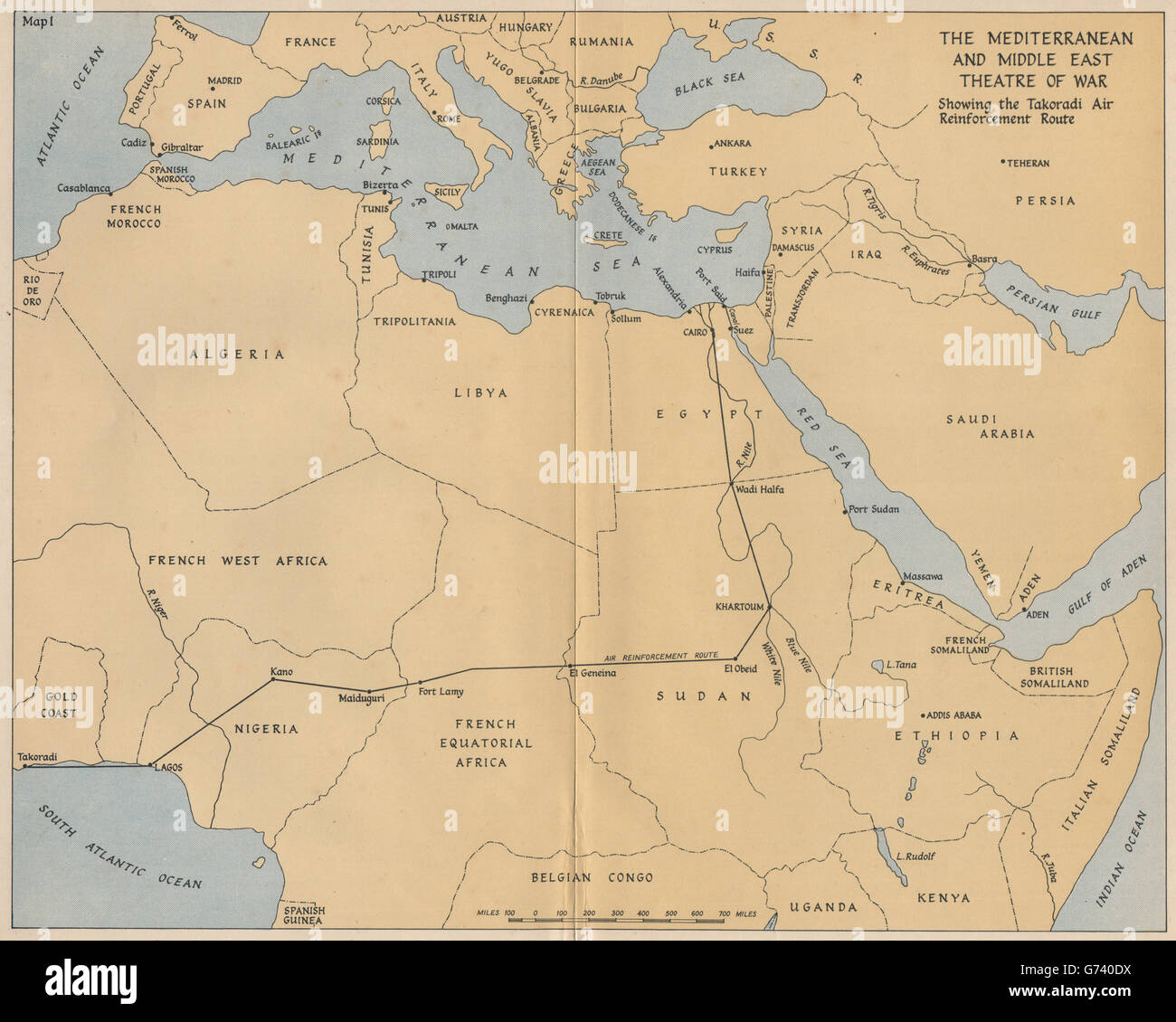 Middle East Map Before Ww2.Ww2 Mediterranean Middle East Theatre South Atlantic Air Ferry