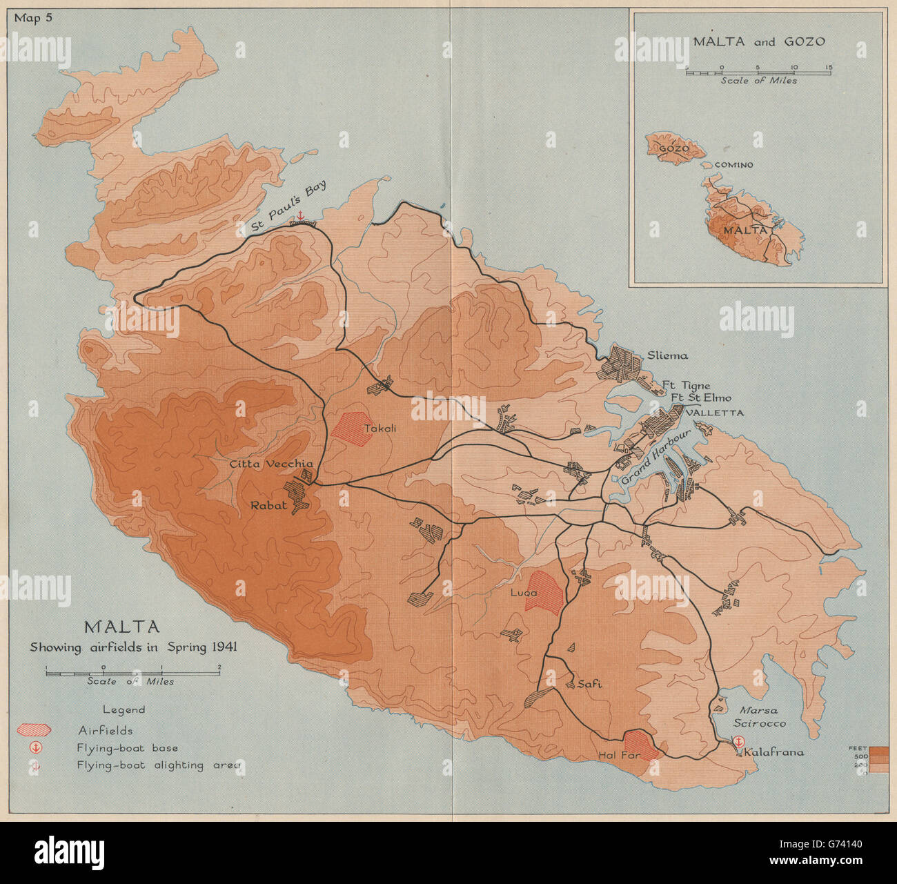SIEGE OF MALTA. Malta showing airfields in spring 1941. World War 2 ...