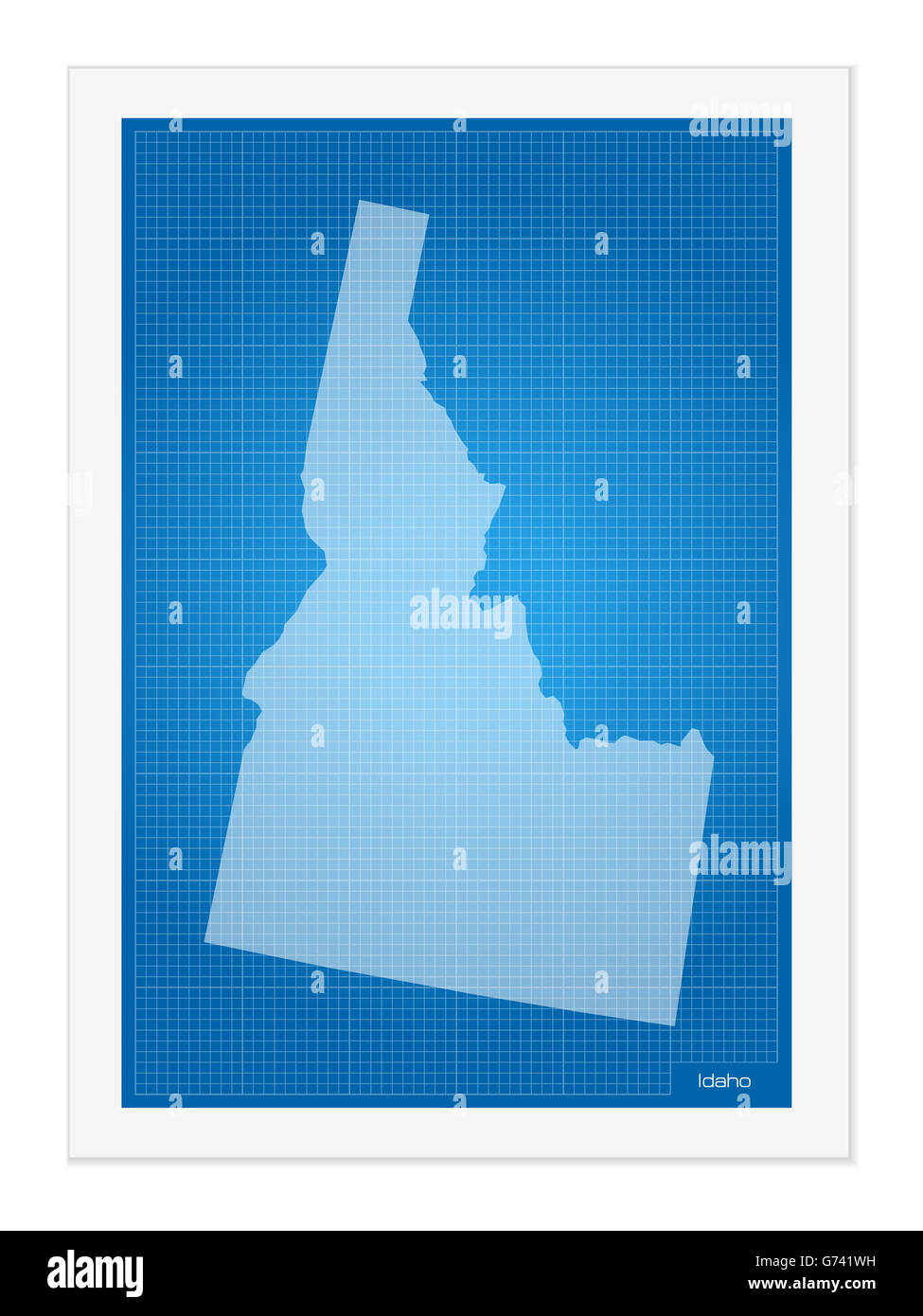 Idaho on blueprint on a white background. - Stock Image