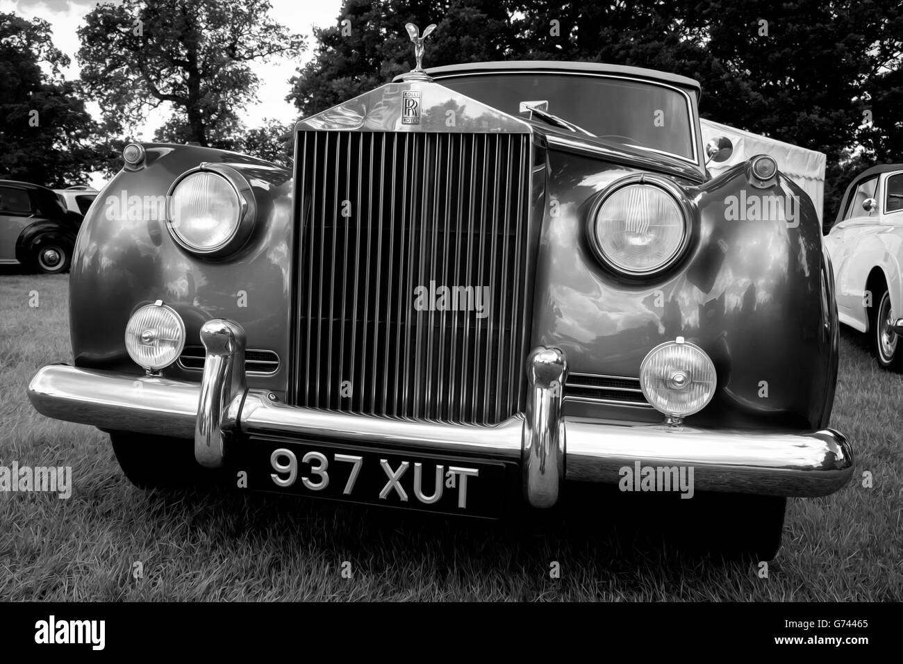 Classic Rolls Royce In Black White With A Subtle Oil Painting Stock Photo Alamy