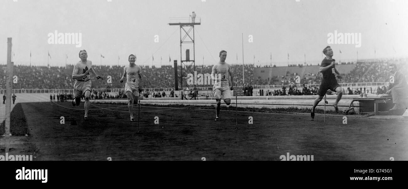 Reggie Walker wins the 100m - Stock Image