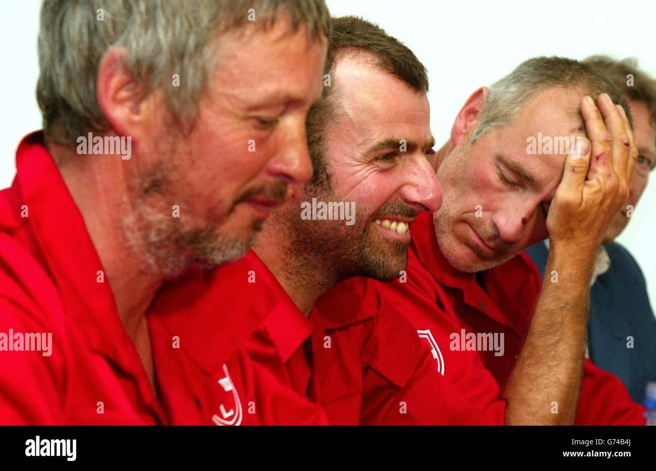 Transatlantic rowers at Southampton airport - Stock Image