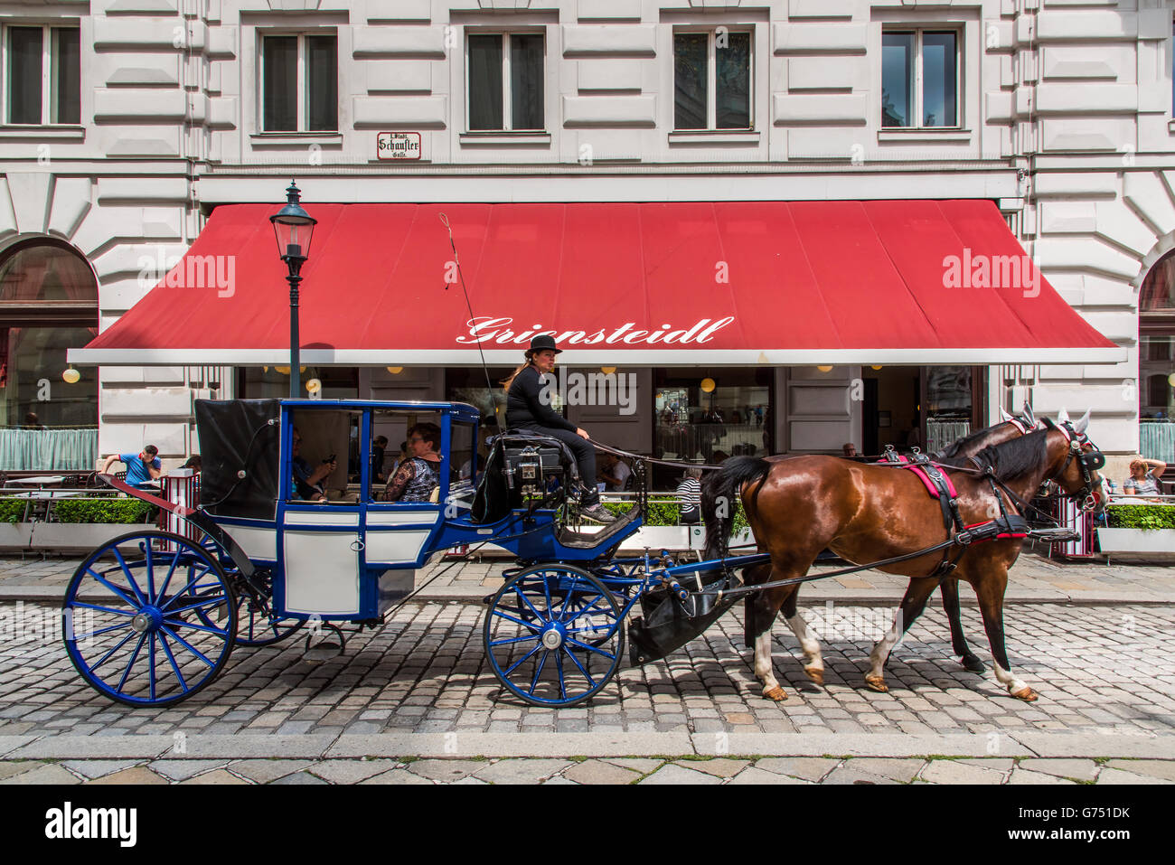 Horse carriage in the historic centre of Vienna, Austria - Stock Image