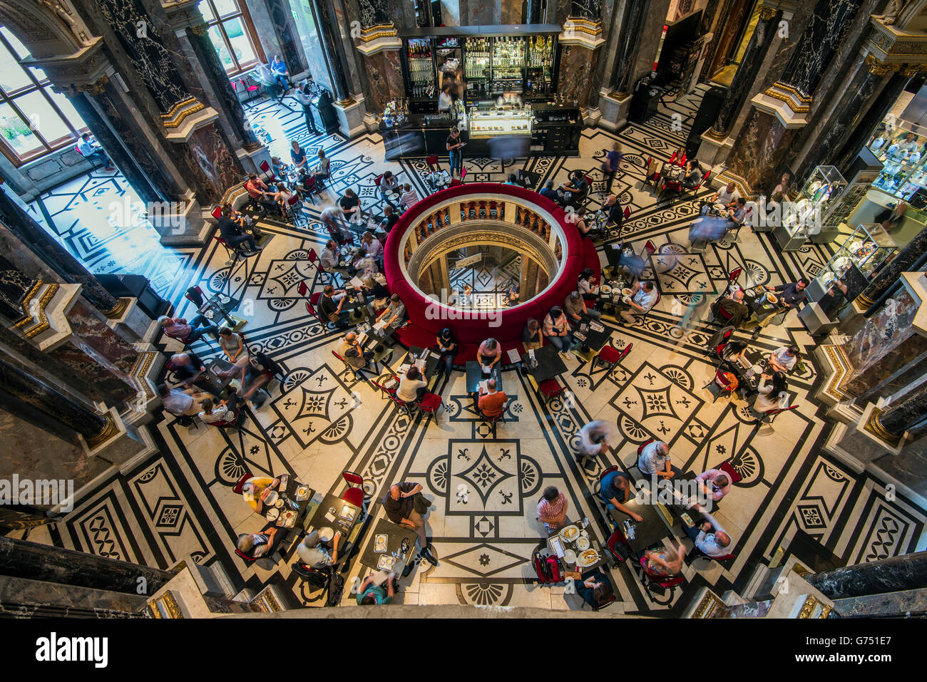 Cafe inside the Kunsthistorisches Museum or Museum of Art History, Vienna, Austria Stock Photo