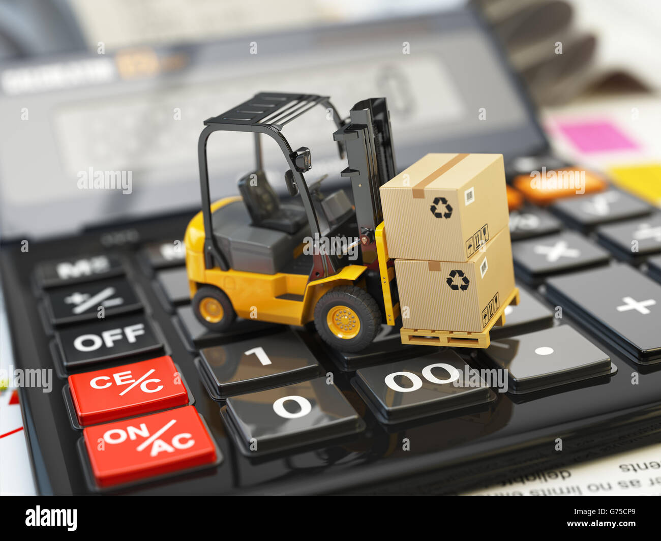 Forklift with cardboxes on calculator. Calculation of shipping delivery costs concept. 3d illustration - Stock Image