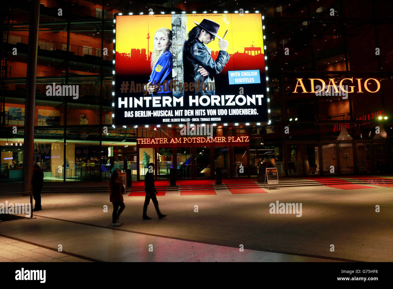 Werbung fuer das Udo Lindenberg-Musical 'Hinterm Horizont', Musical Theater, Marlene-Dietrich Platz, Berlin - Stock Image