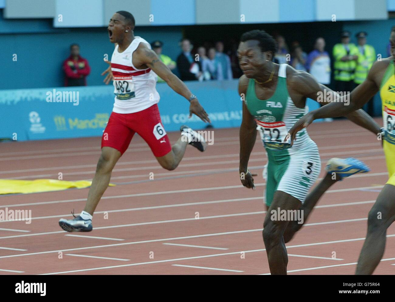 100m Men's Final - England's Mark Lewis-Francis (Far R) - Stock Image