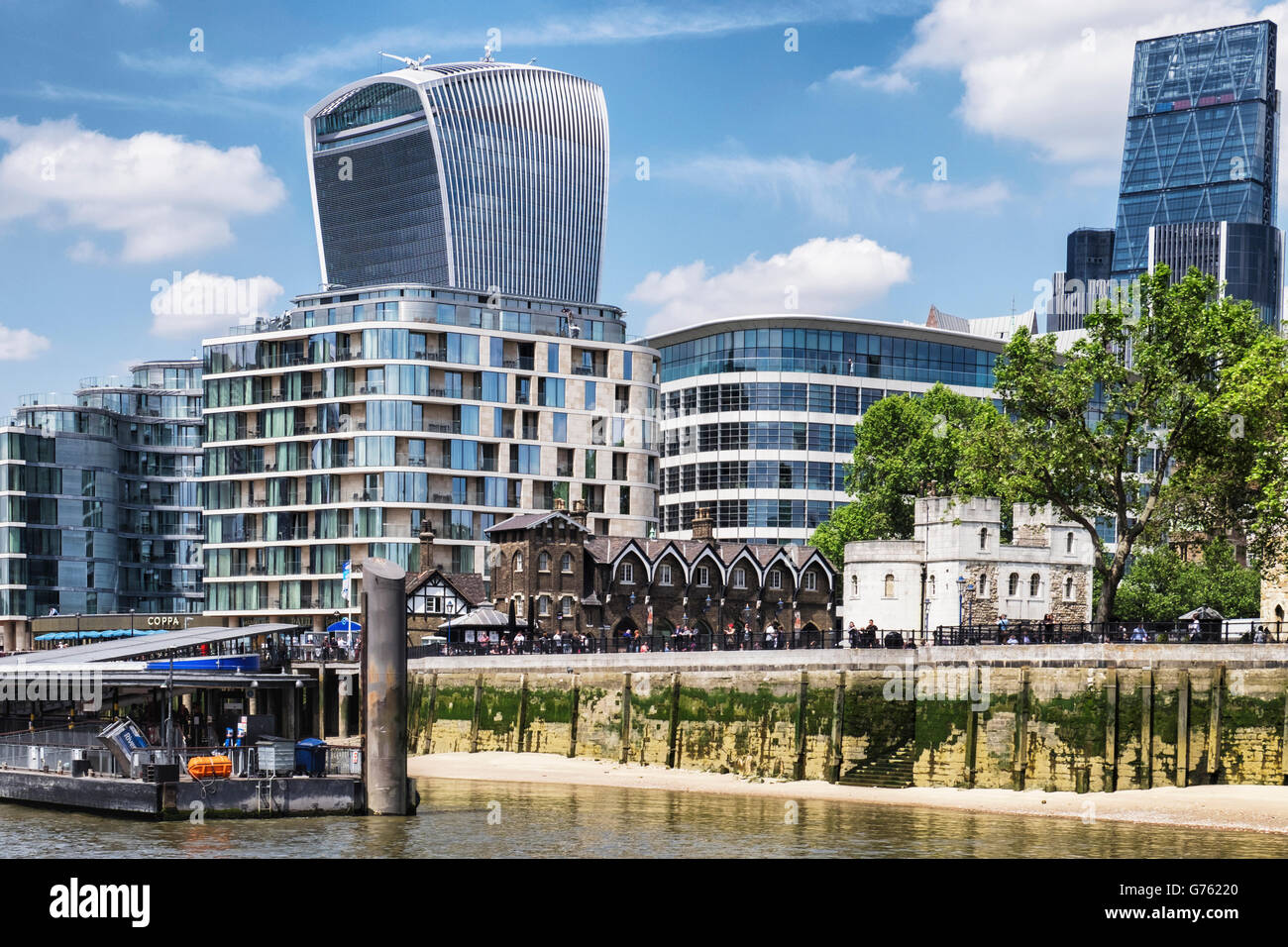London old & new riverside buildings, The Walkie Talkie and The Cheese grater and the historic Tower of London - Stock Image