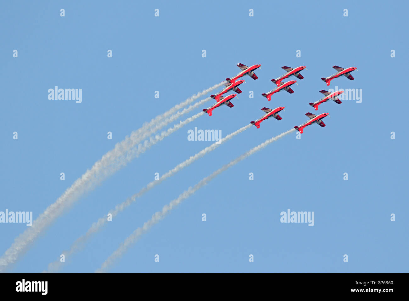 aerobatic squadron Patrouille Suisse, Rapperswil, Switzerland - Stock Image