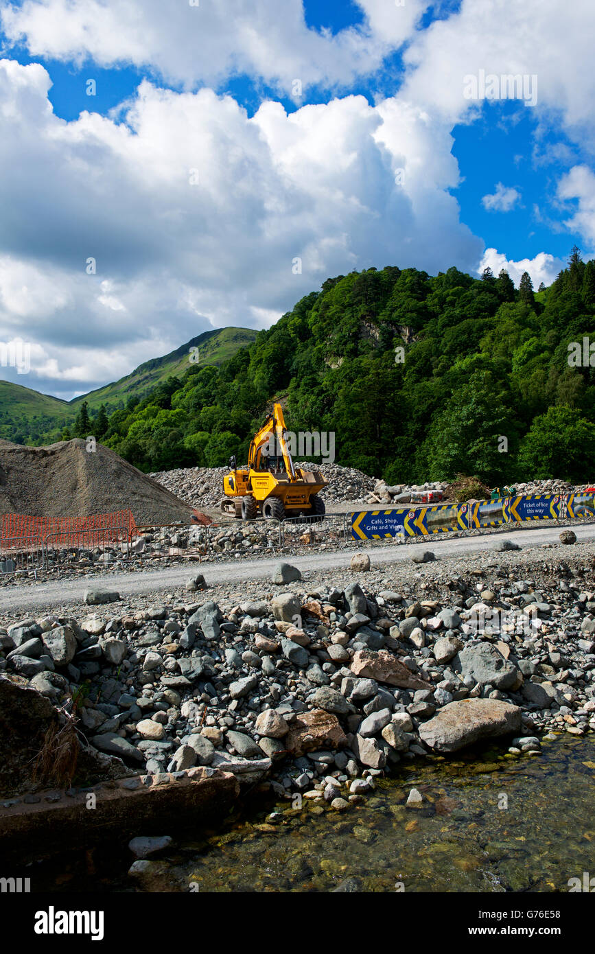 Rocky debris: the aftermath of flooding in the village of Glenridding, Lake District National Park, Cumbria, England - Stock Image
