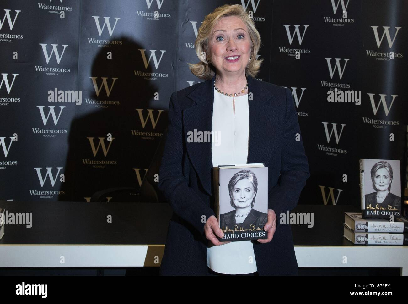 Former U.S. Secretary of State Hillary Clinton during a book signing for her new title 'Hard Choices' at Waterstones Stock Photo