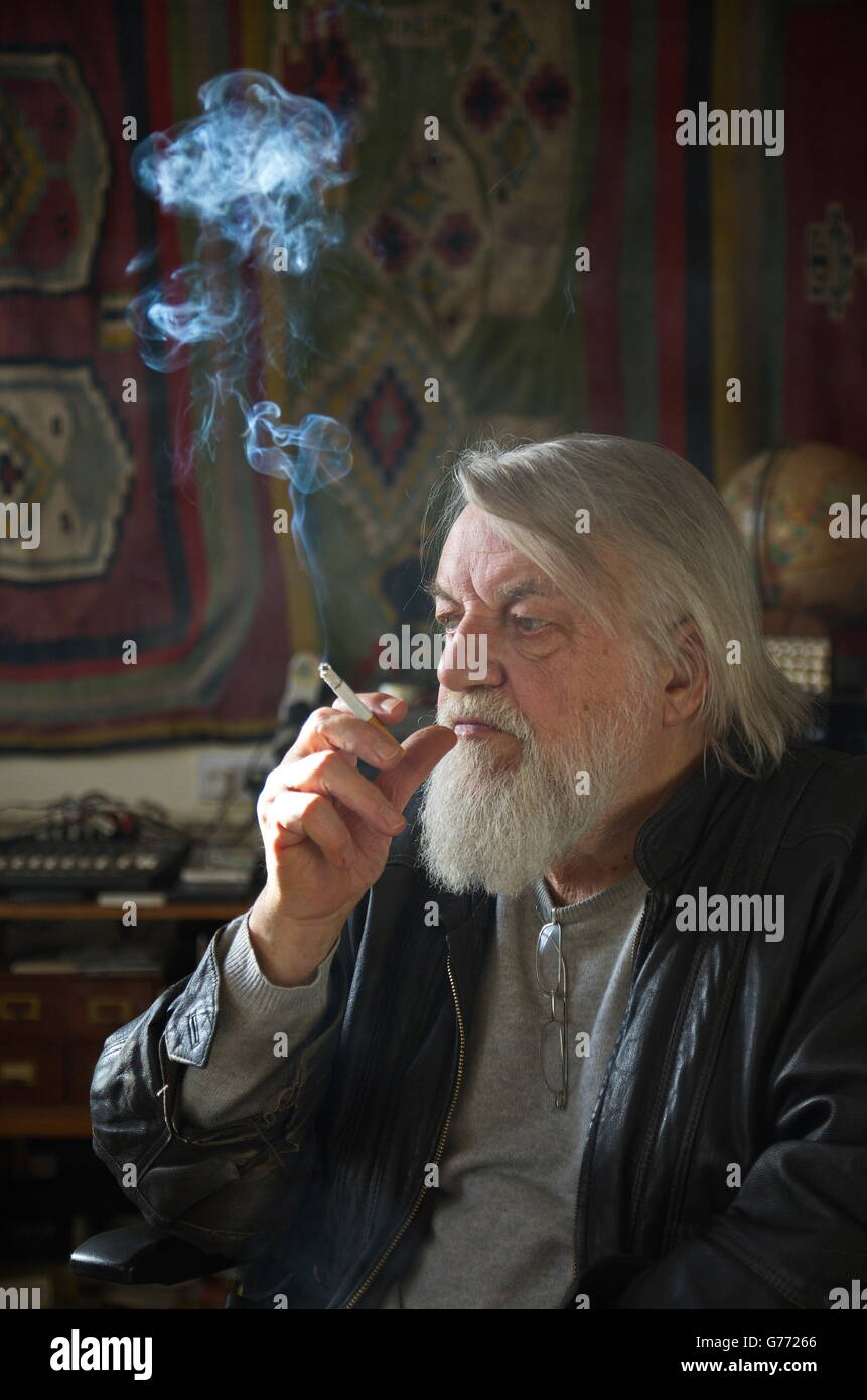 Robert Wyatt in his studio - Stock Image