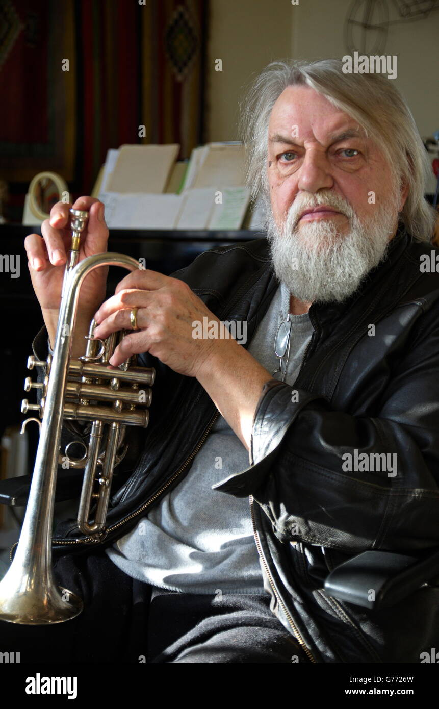 Musician Robert Wyatt with Trumpet. - Stock Image