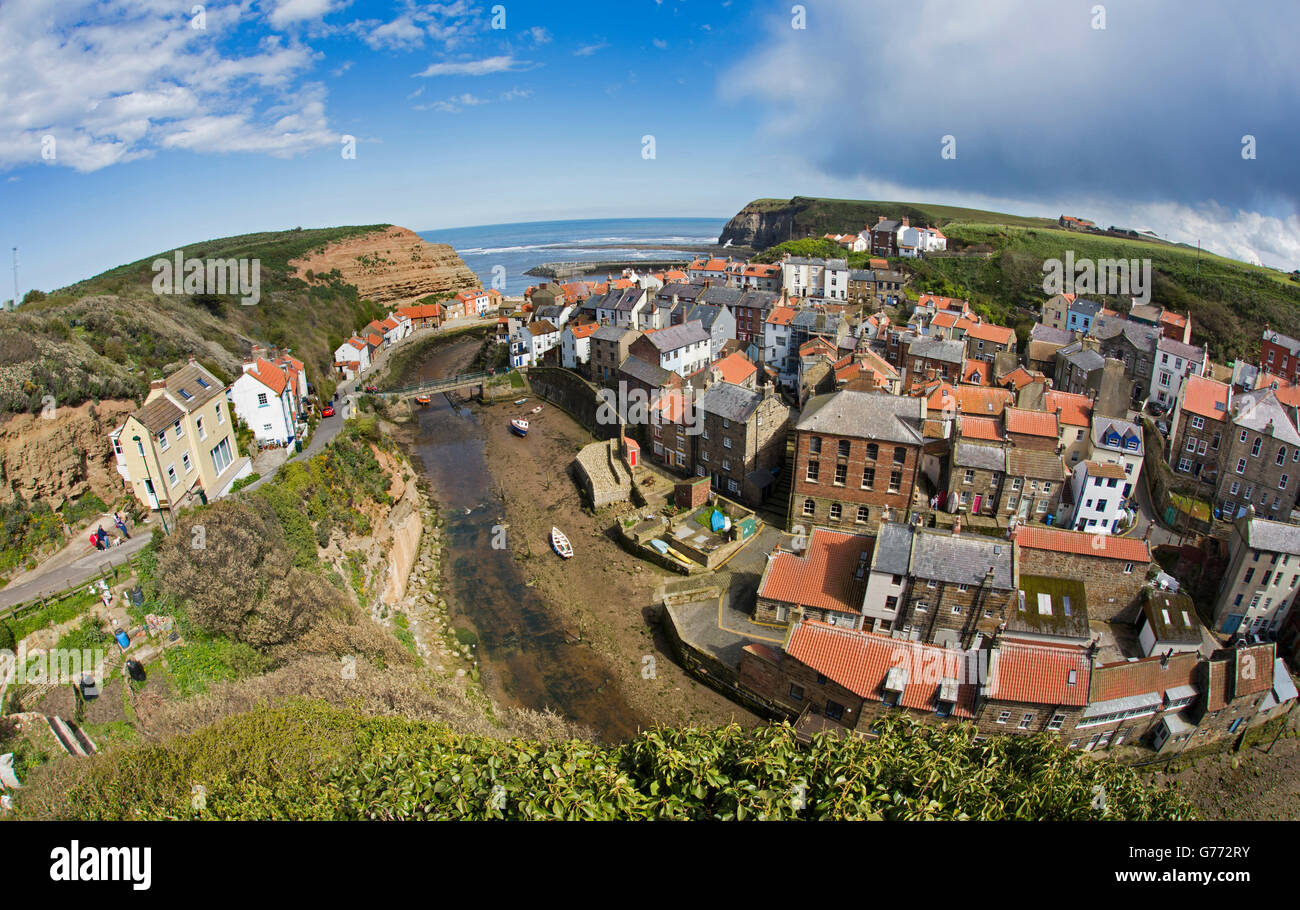 UK, England, Yorkshire, Staithes, elevated view of village from Cowbar Bank fish eye wide angle lens view - Stock Image