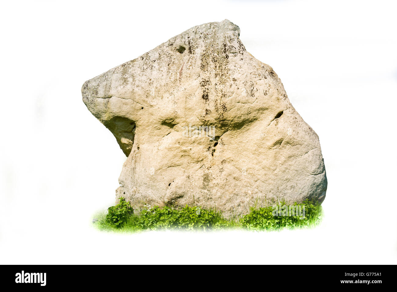 Monolithic Horse Shaped Stone Isolated on White with Grass - Stock Image