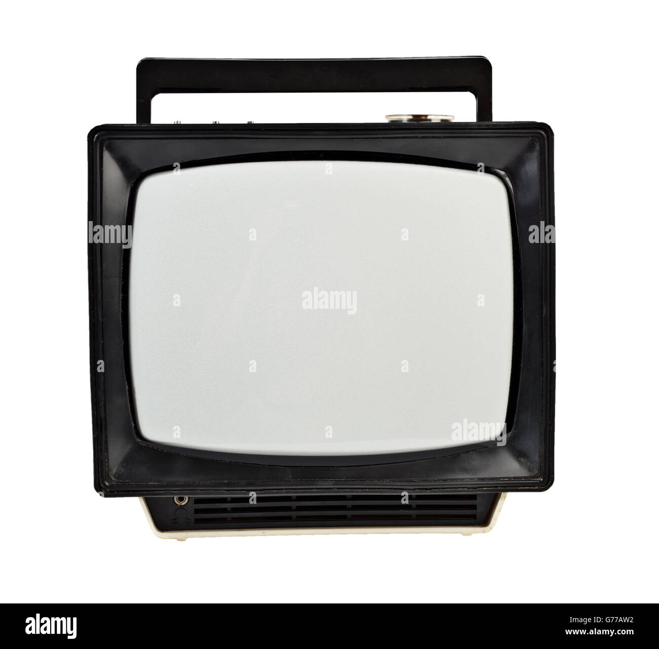 Vintage analog portable TV isolated on white - Stock Image