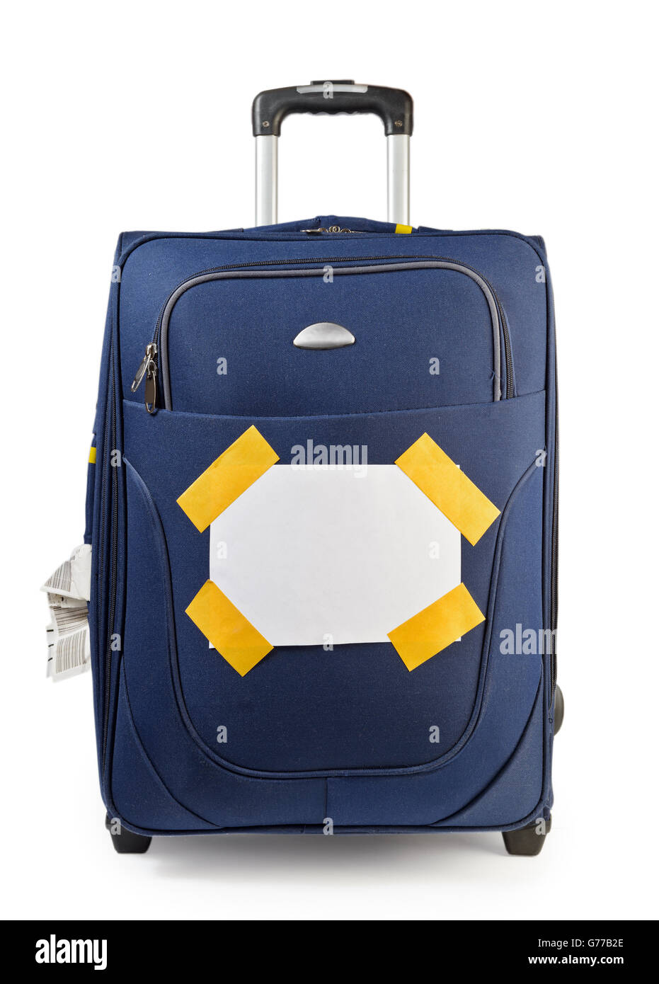 Journey suitcase with destination label isolated on white - Stock Image