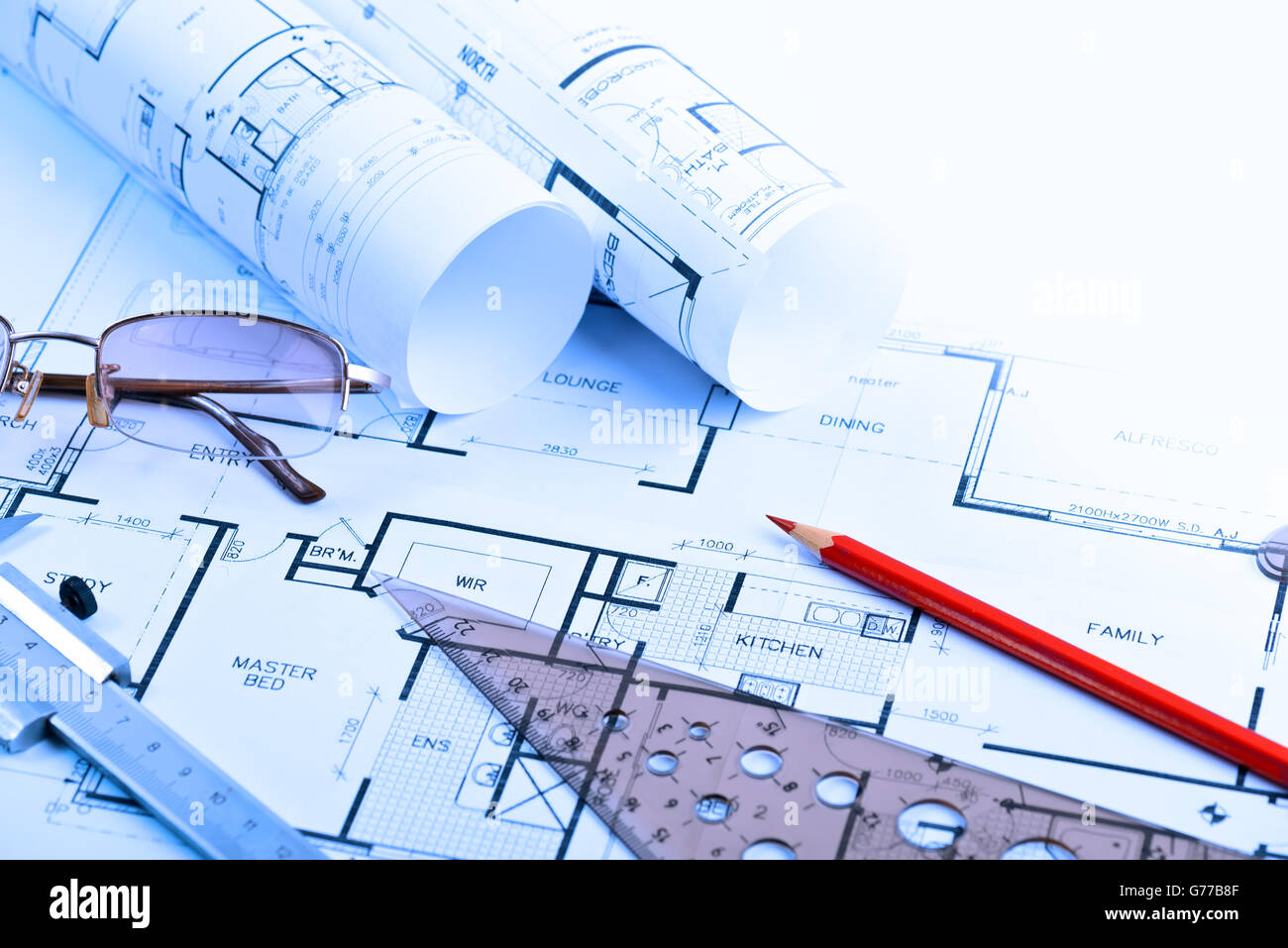Architectural blueprints of new home with copy space for message - Stock Image