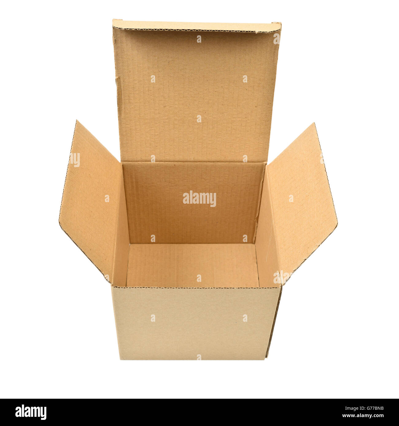 Single open cardboard  box over white background - Stock Image