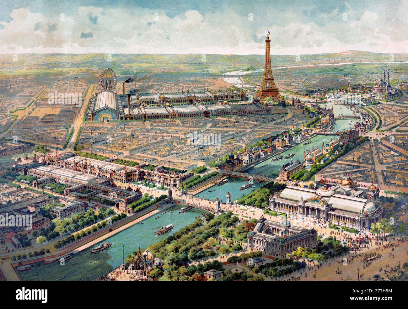 Paris Exposition, 1900. Panoramic view of the Exposition Universelle 1900, in Paris, France. Lithograph by Lucien - Stock Image