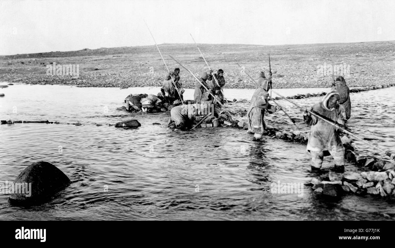 Inuit killing salmon with spears, Canada. Photo by Canadian Geological Survey, between 1910-1925 - Stock Image