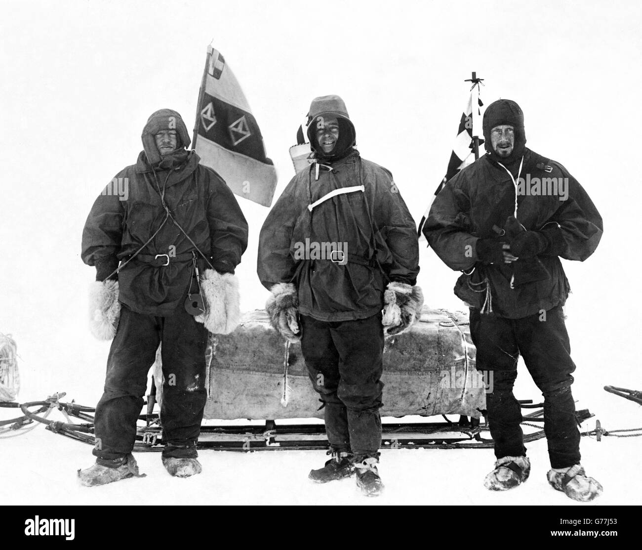 Ernest Shackleton, Captain Robert Falcon Scott and Dr. Edward Wilson on the British National Antarctic Expedition - Stock Image
