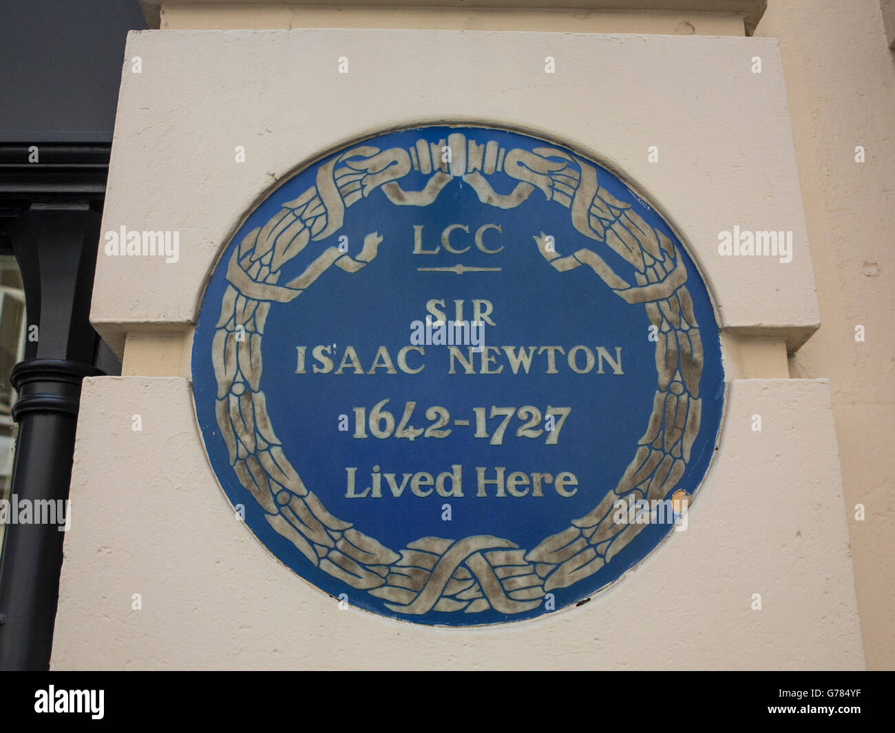 Sir Isaac Newton blue plaque - Stock Image