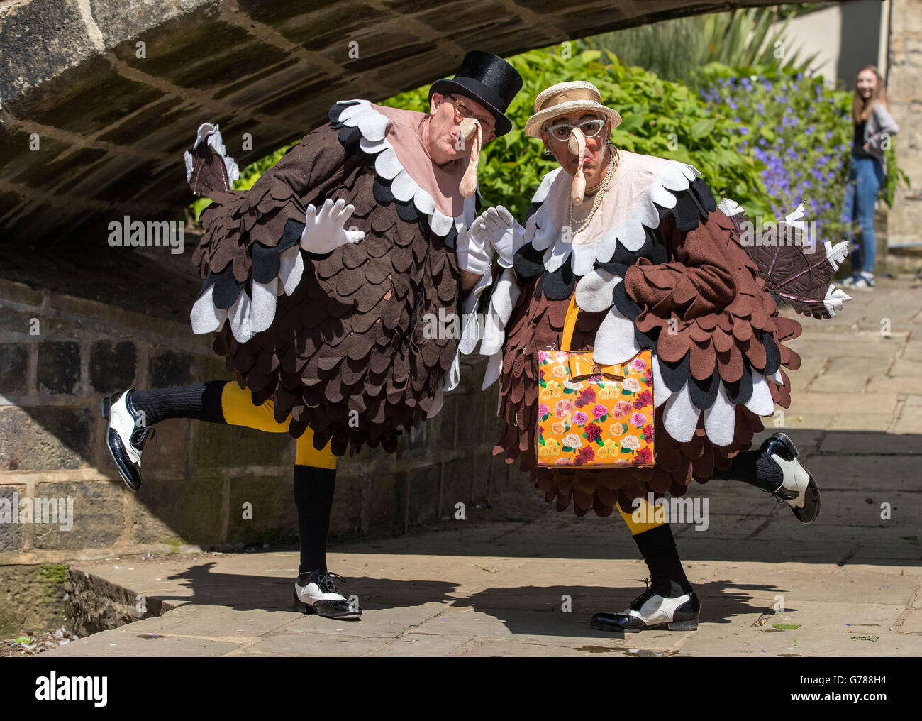 Tap dancers dressed as turkeys in Hebden Bridge as they have their alternative celebrations after the Boxing day Stock Photo