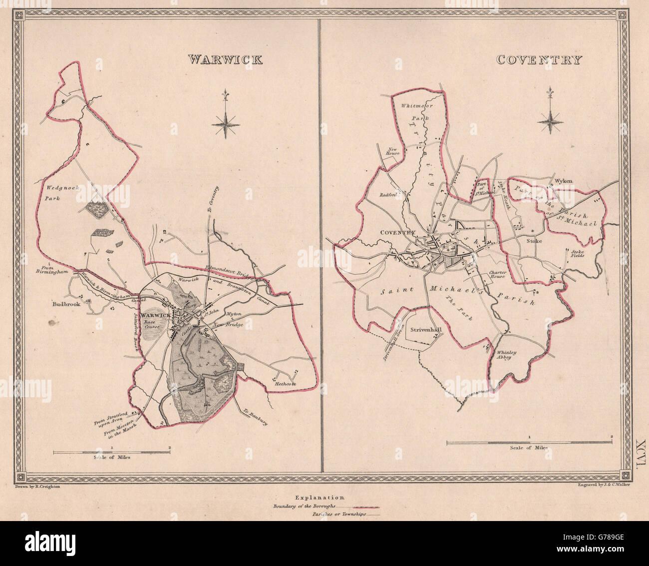 CREIGHTON//WALKER 1835 map WARWICKSHIRE TOWNS Warwick Coventry borough plans
