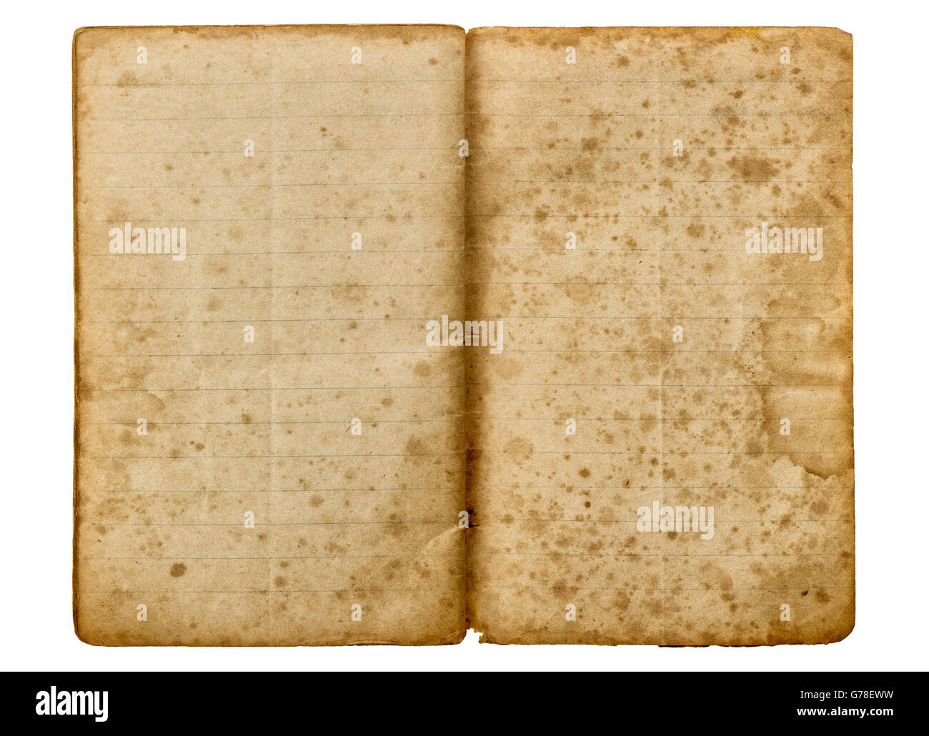 Old School Exercise Book Open Isolated On White Background Aged Paper Texture