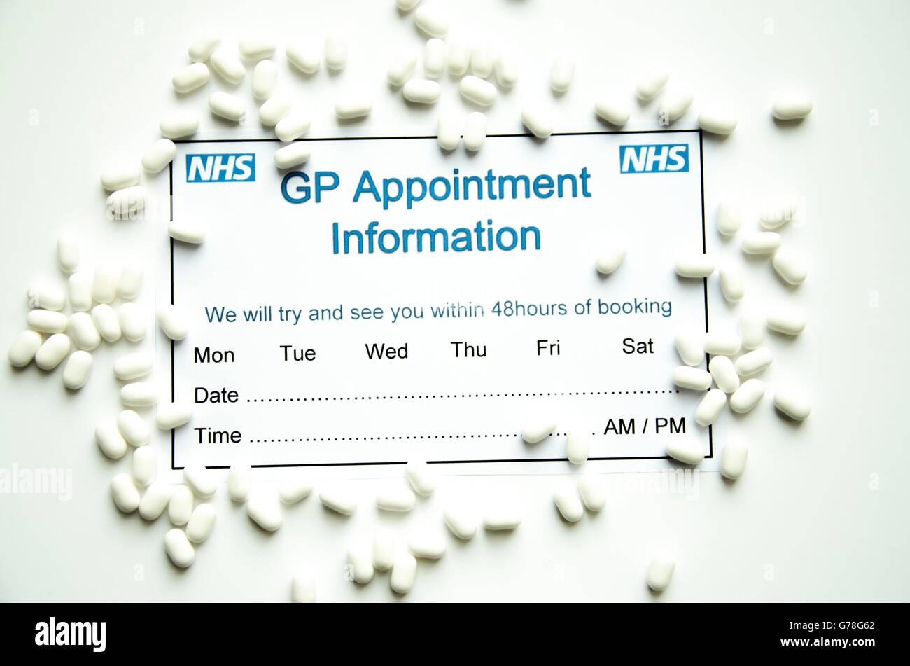 gp appointment slip for nhs with pills stock photo 107753130 alamy