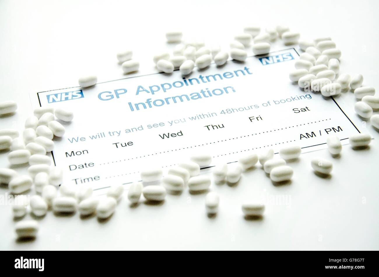gp appointment slip for nhs with pills stock photo 107753180 alamy