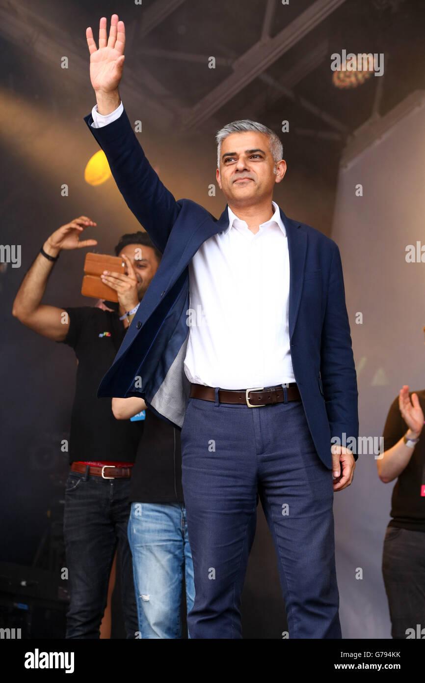 London, UK. 25th June 2016. Sadiq Khan, Mayor of London, speaking at the Pride London Parade in London where the - Stock Image
