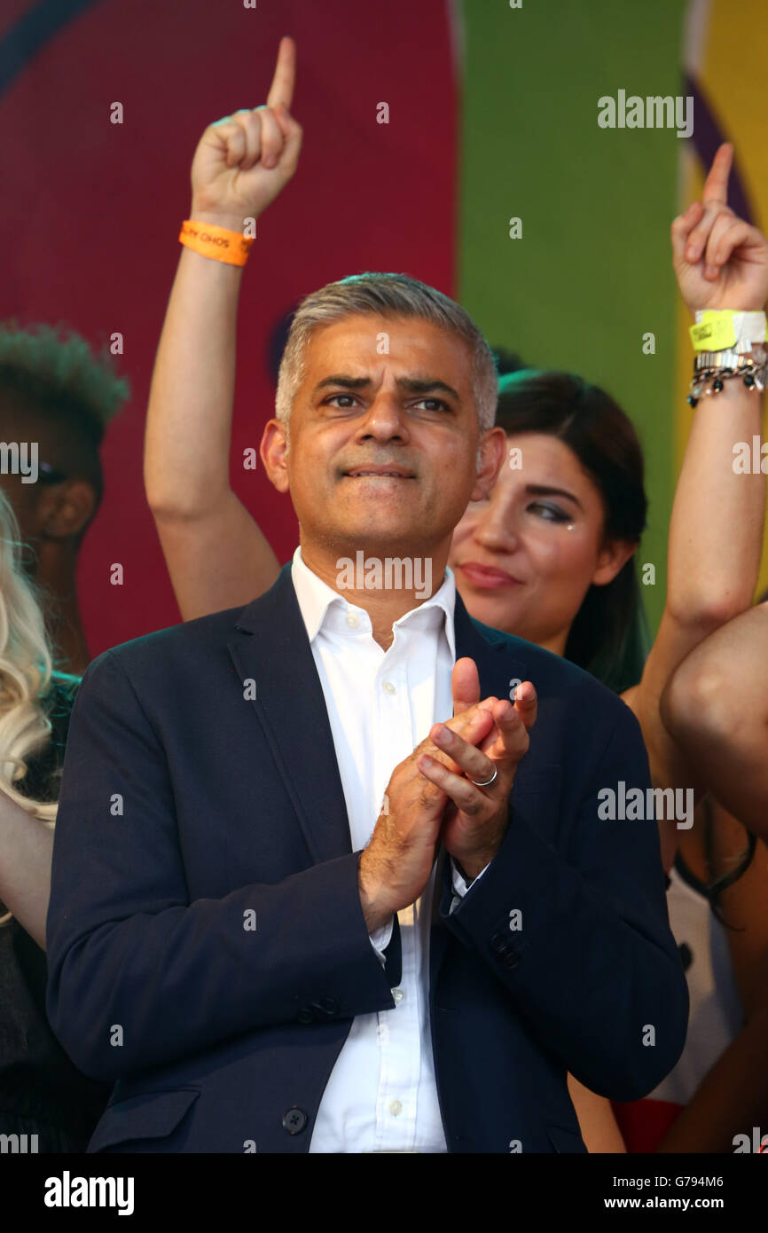 London, UK. 25th June 2016. Sadiq Khan, Mayor of London, speaking at the Pride London Parade in London where the Stock Photo