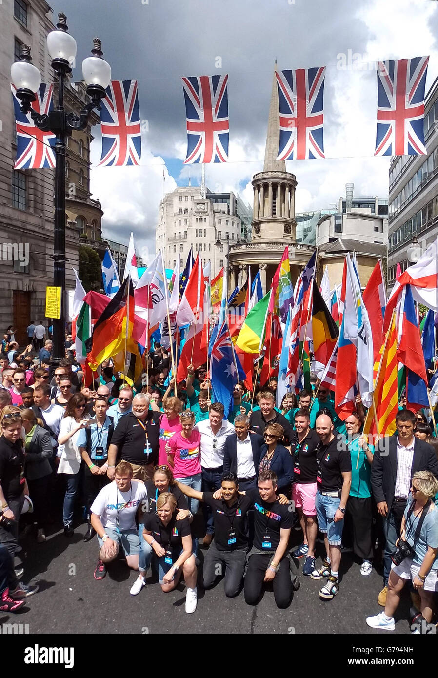 London, UK. 25th June 2016. Sadiq Khan, mayor of London, and Matthew Barzun leading the Parade at the Pride London - Stock Image