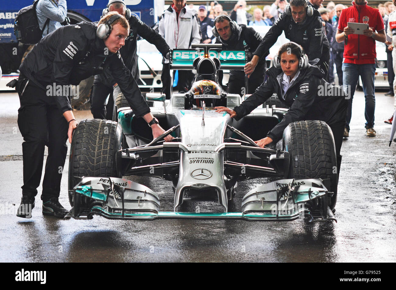 Pascal Wehrlein at the 2016 Goodwood Festival of Speed driving a Mercedes Formula 1 racing car - Stock Image