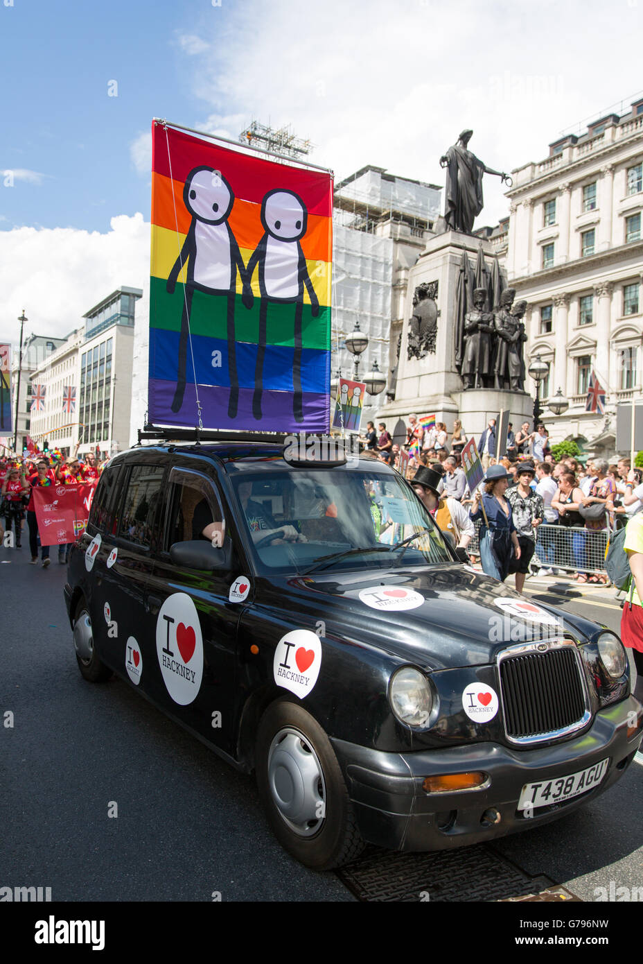 London, UK  25th June, 2016. Pride in London parade. Banner by Stik London on hackney cab or black cab in Hackney - Stock Image