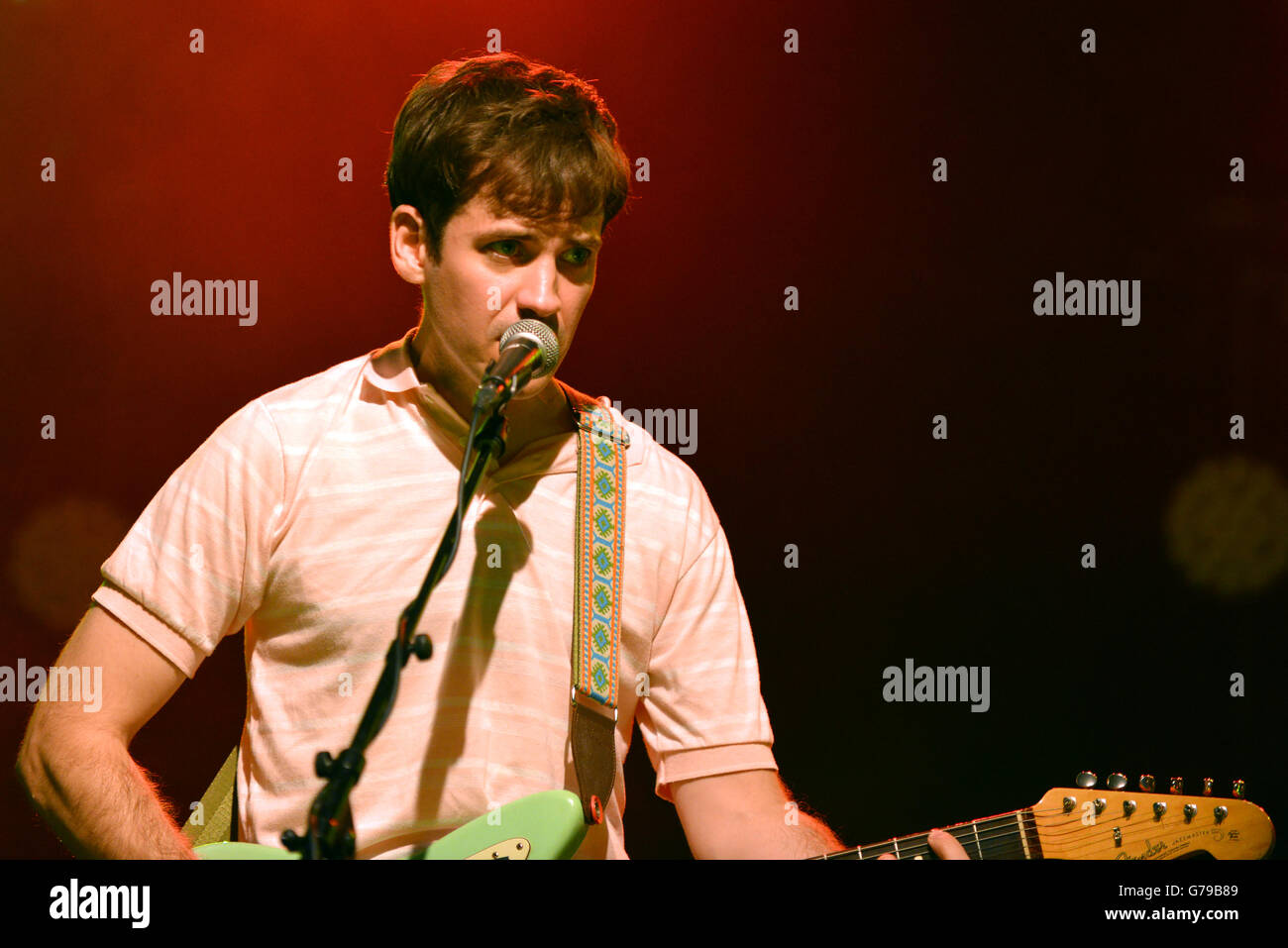 Ottawa, Canada - June 25, 2016:  Guitarist Alec O'Hanley of the indie pop band Alvvays that topped the US college Stock Photo