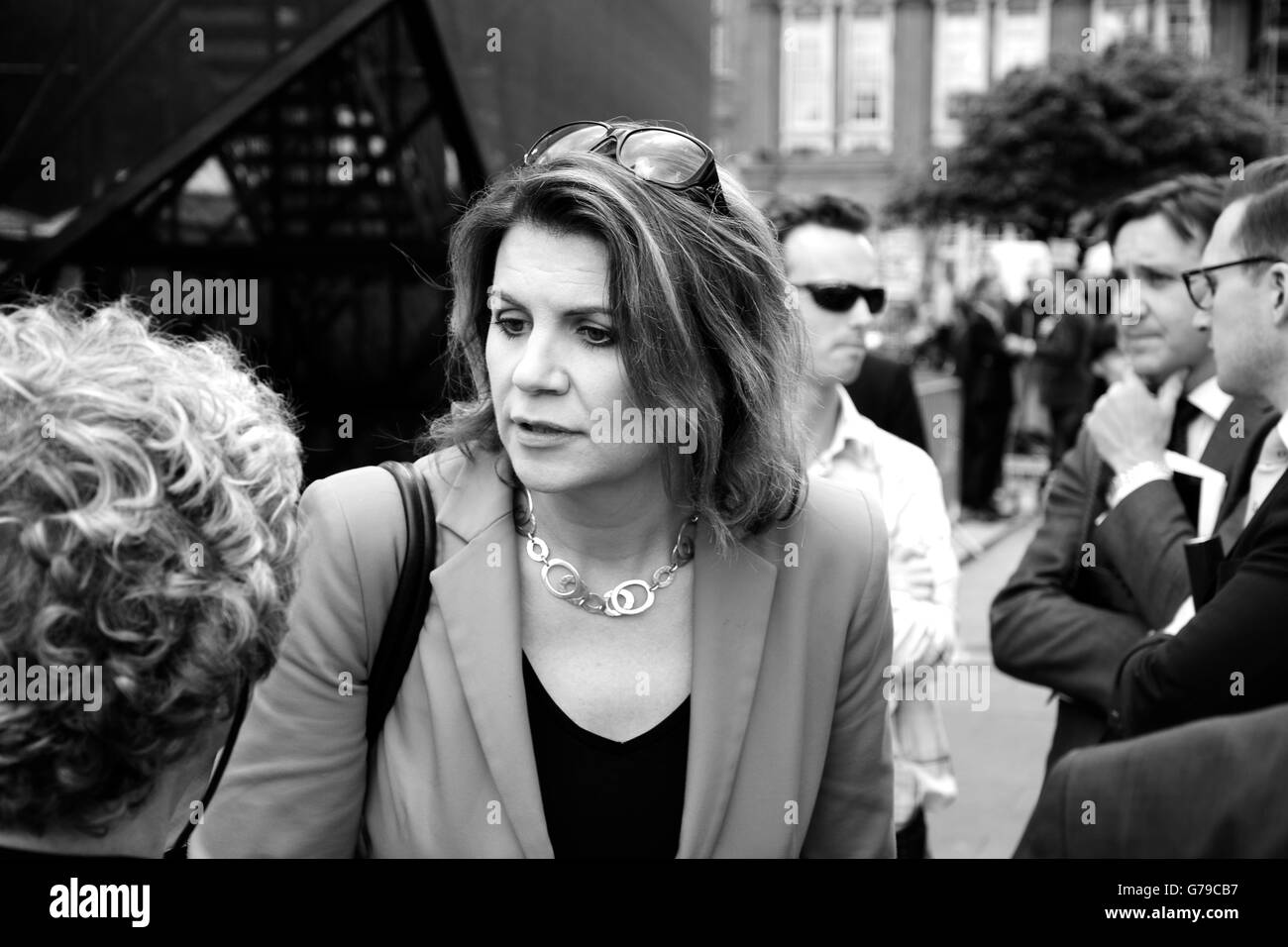 Julia Hartley Brewer on College Green the day after the EU Referendum result June 2016. - Stock Image