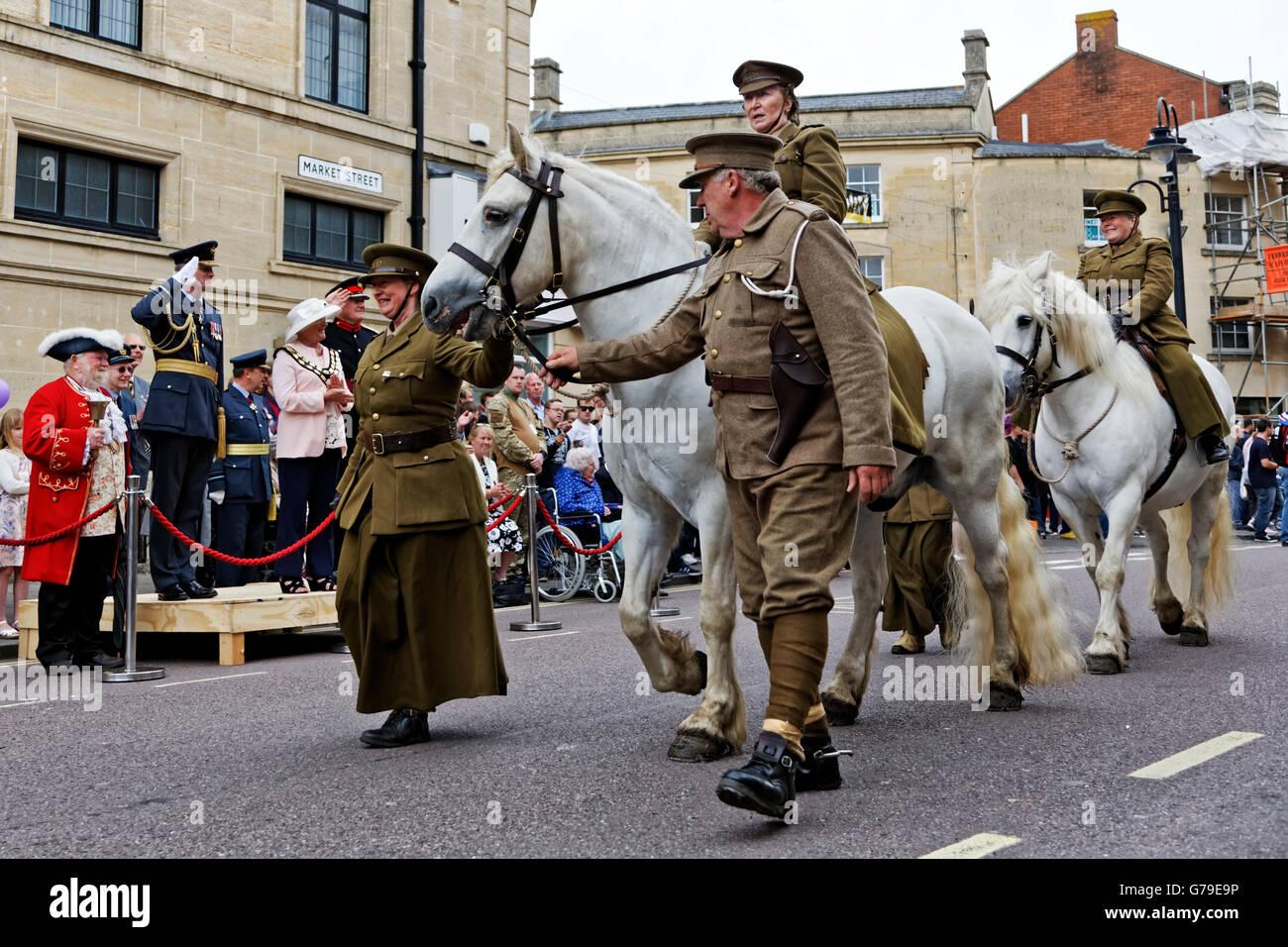 Trowbridge, Wiltshire, UK. 26th June 2016. Wiltshire Armed Forces & Veterans Celebrations at Trowbridge Town - Stock Image
