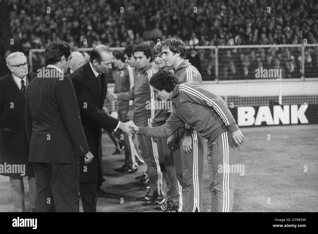 The Duke of Kent, President of the Football Association, meets members of the Italian World Cup team at Wembley Stock Photo