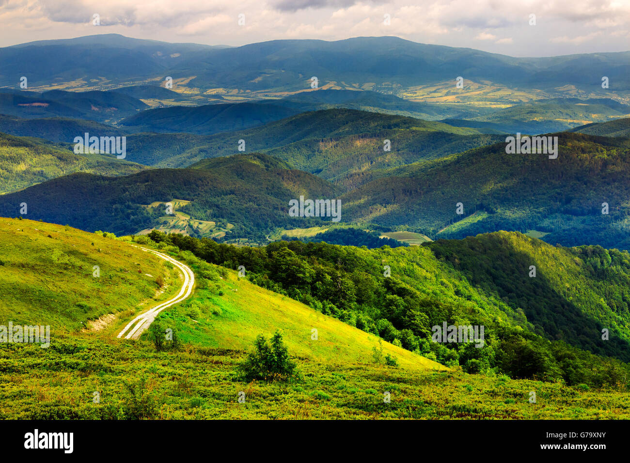 mountain range summer landscape. valley with stones and road on the hillside. forest on the mountain under the beam - Stock Image