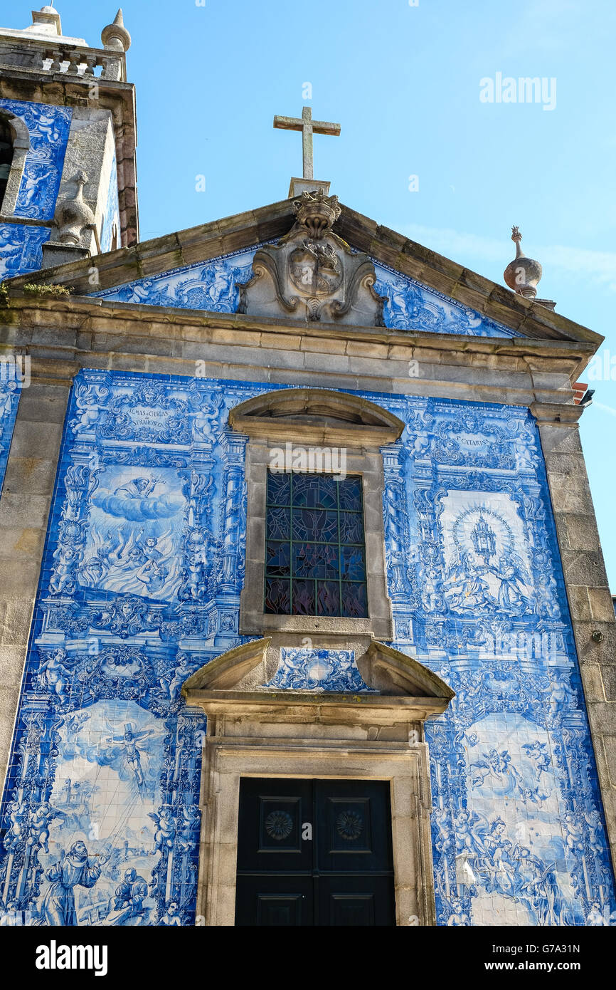 Capela das Almas, outer wall, covered with Azulejos tiles, Porto, UNESCO World Heritage Site, Portugal, Europe - Stock Image