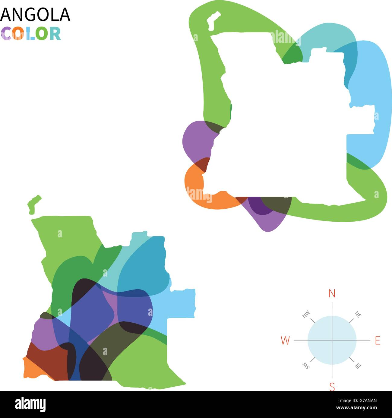 Abstract vector color map of Angola - Stock Vector