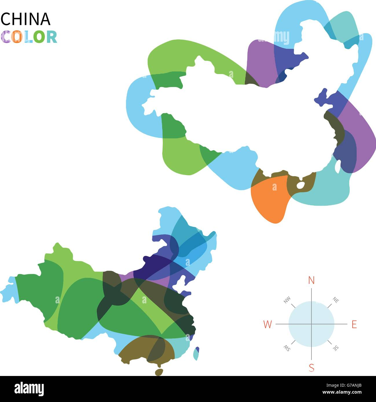 Abstract vector color map of China - Stock Image