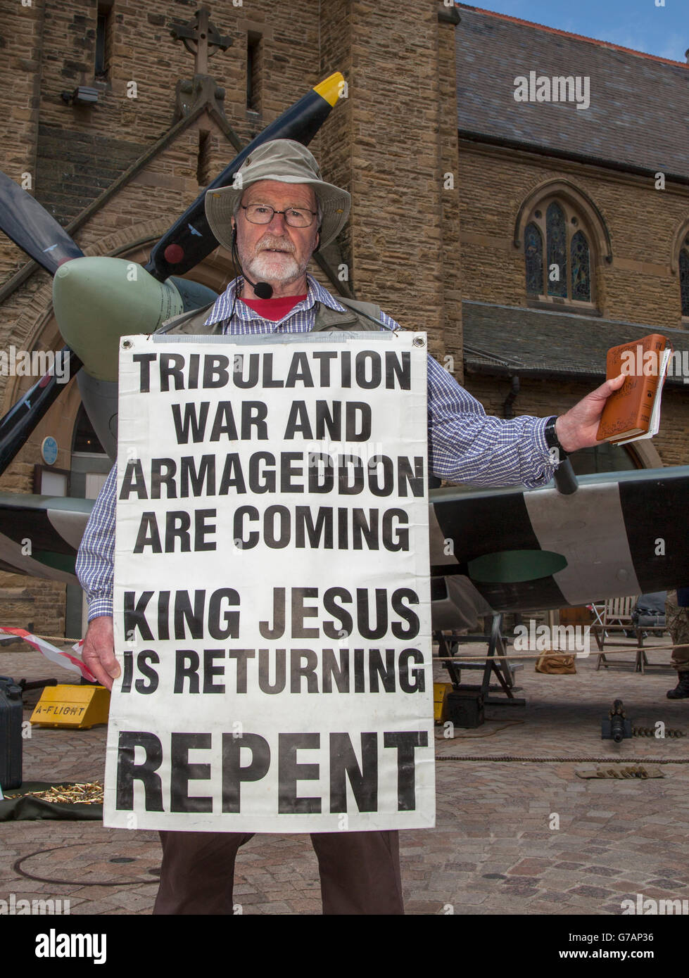 Kenneth from the Scottish Highlands, warns of Armageddon and the return of King Jesus, in Blackpool, Lancashire, - Stock Image