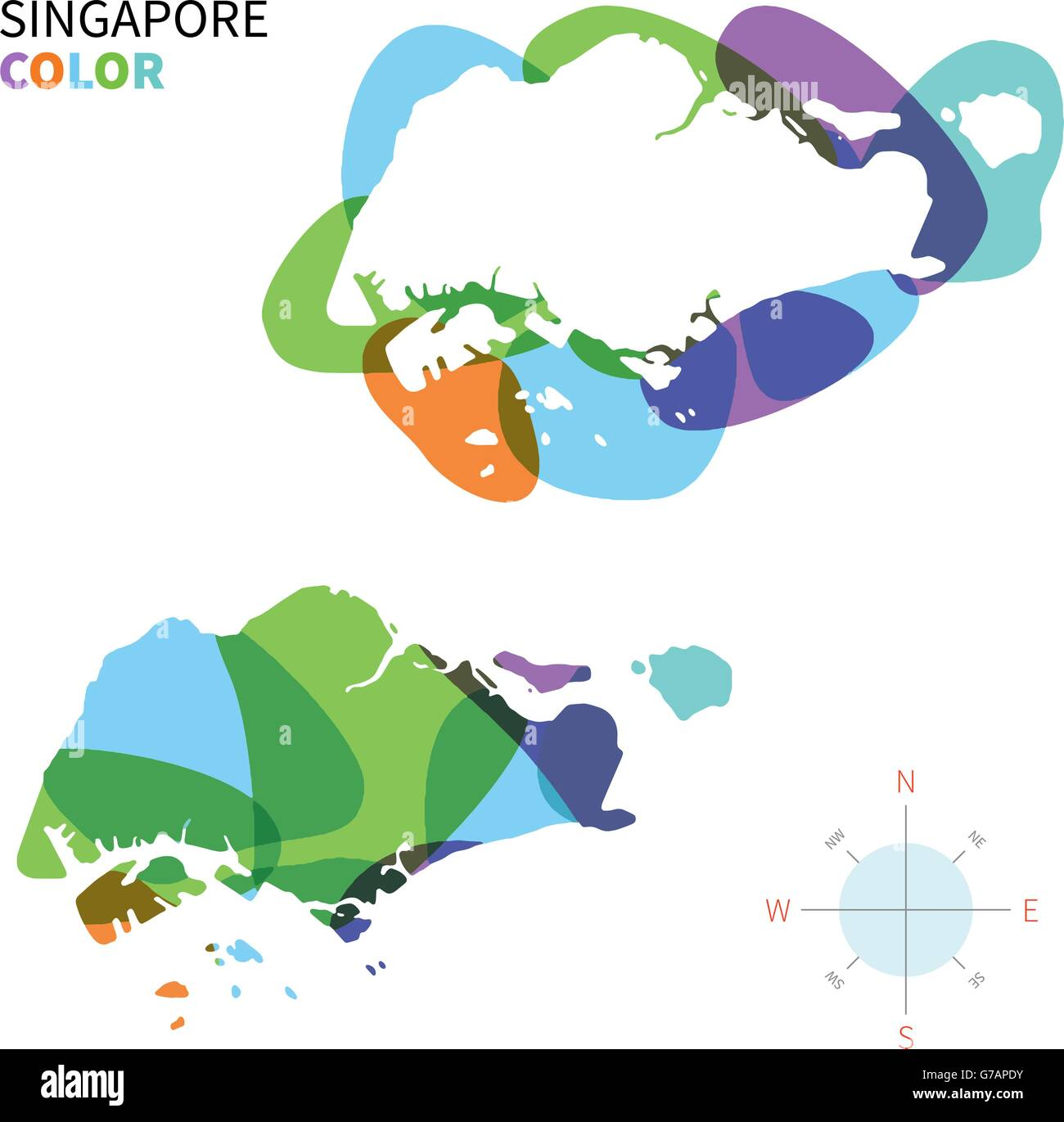 Abstract vector color map of Singapore Stock Vector