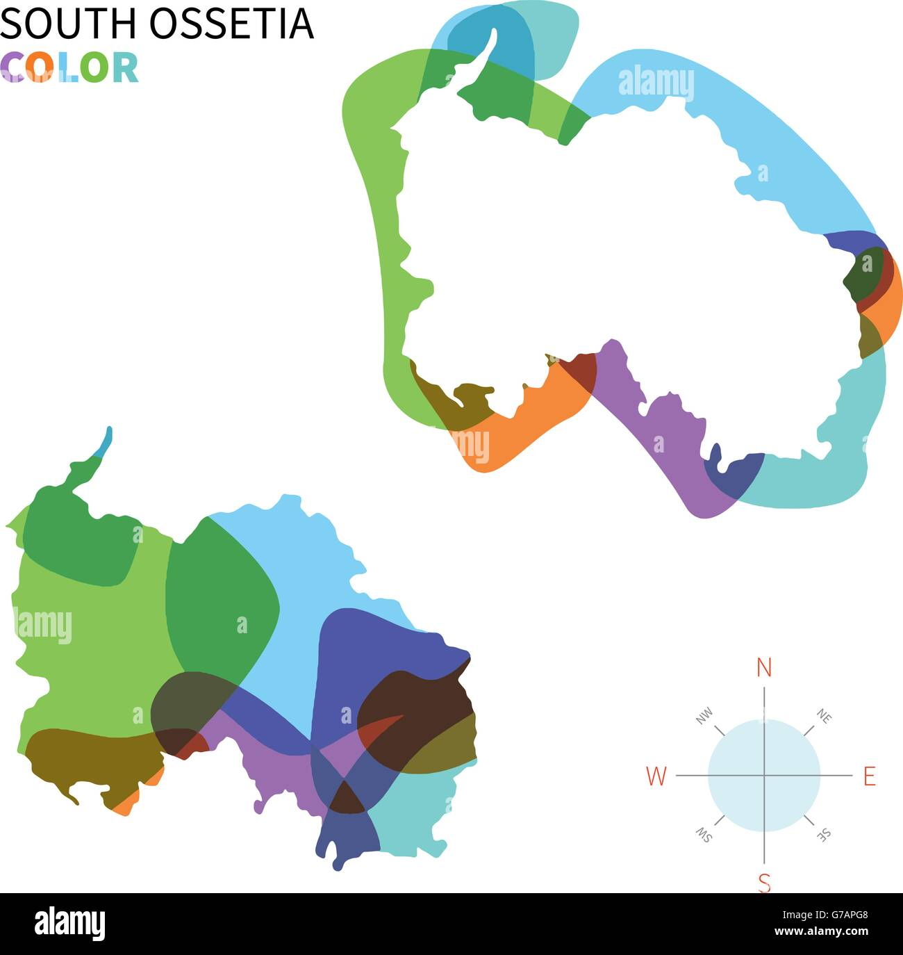 Abstract vector color map of South Ossetia - Stock Image