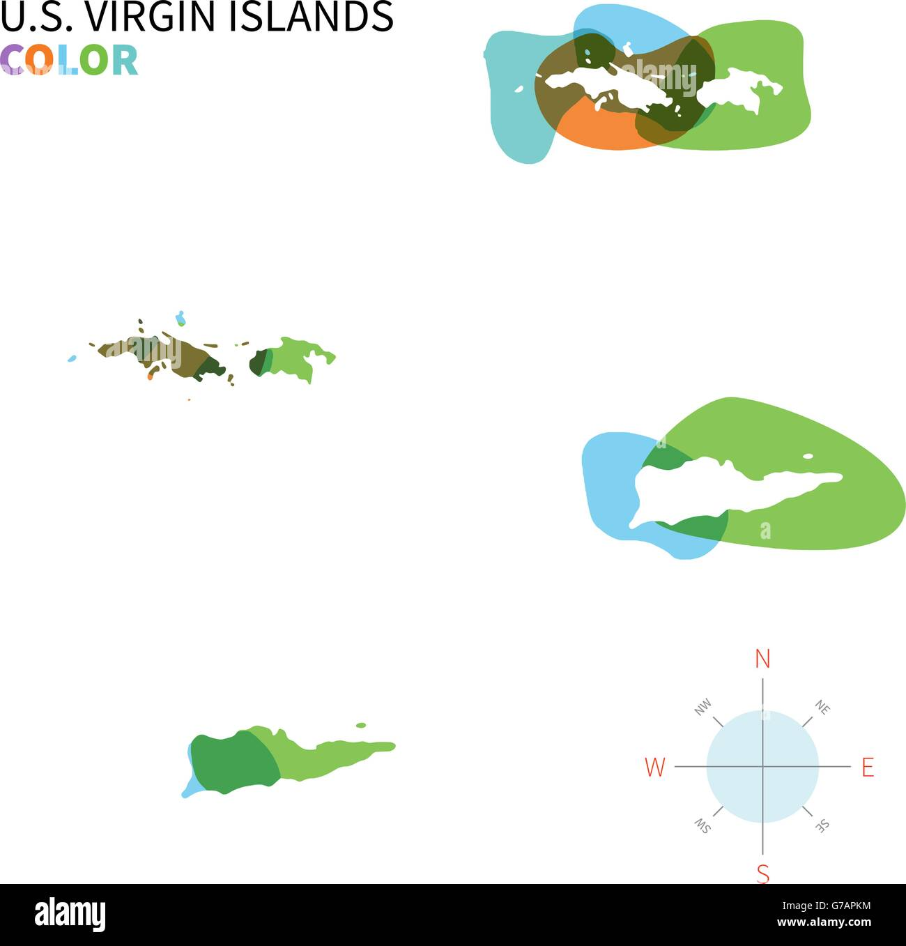 Abstract vector color map of U.S. Virgin Islands Stock Vector Art ...