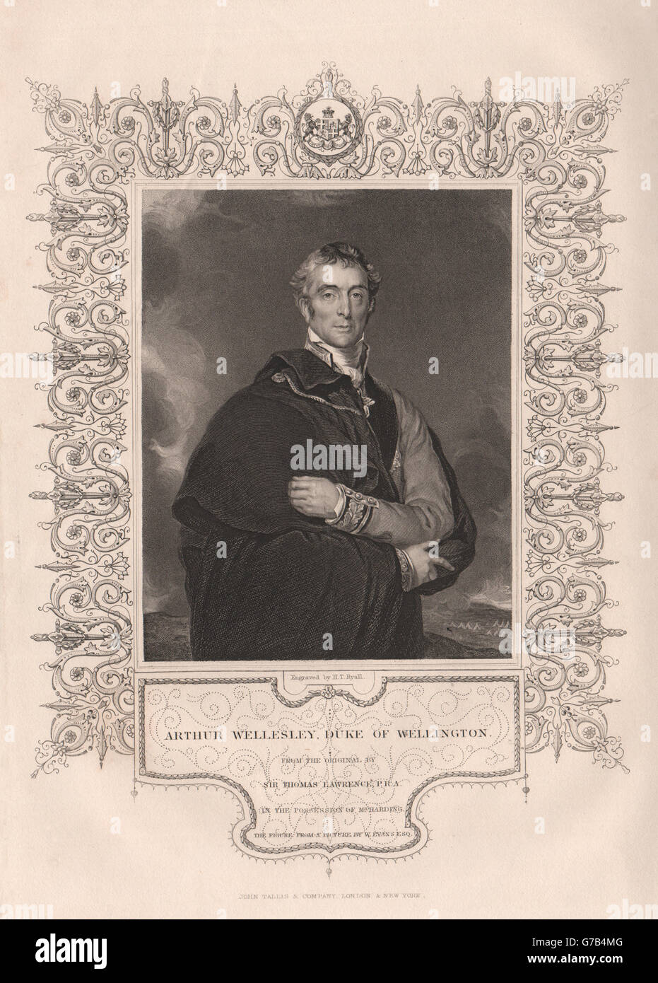 Arthur Wellesley, Duke of Wellington. Ireland. TALLIS, antique print 1853 - Stock Image